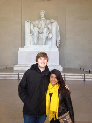 Leanne Bassi and Ben Keller at the Lincoln Memorial
