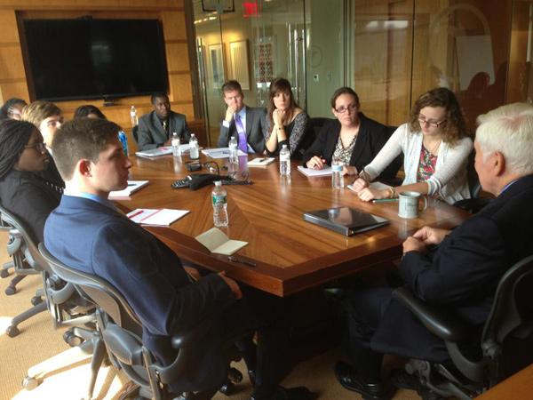 Lugar Academy students sit down with Senator Lugar